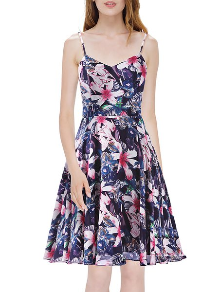 Multicolor Floral Spaghetti V Neck Midi Dress