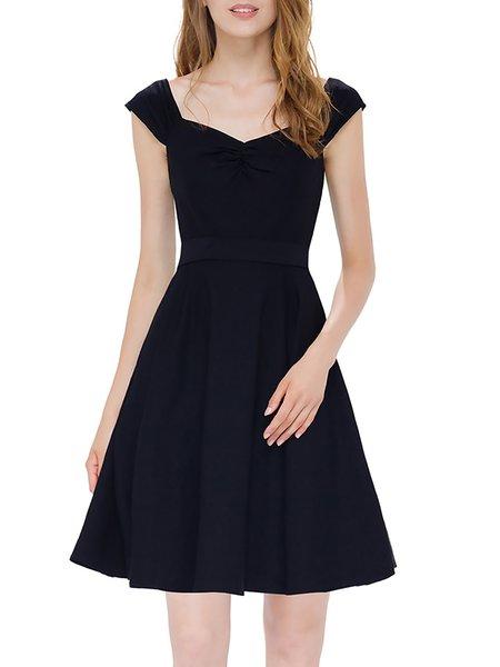 Black Square Neck Elegant Spaghetti Plain Mini Dress