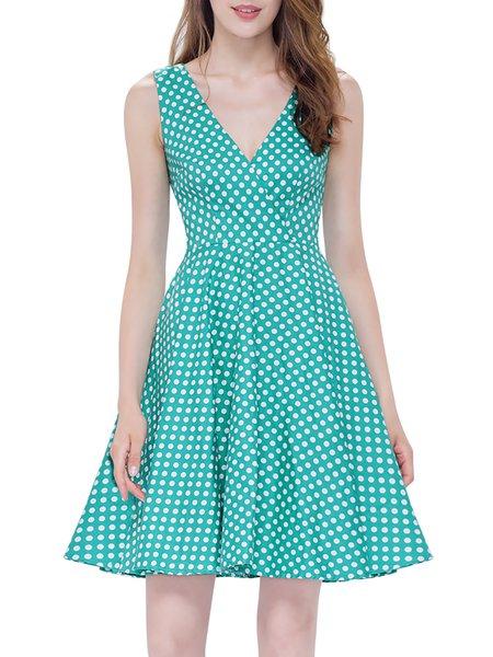 Green V Neck Sleeveless Polka Dots Mini Dress with Belt