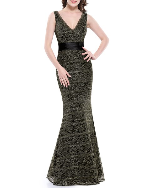 Dark Green Sleeveless Plunging Neck Mermaid Evening Dress