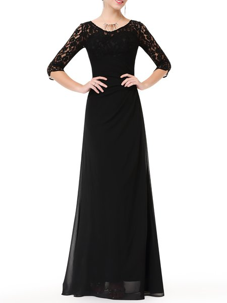 Black 3/4 Sleeve Paneled Evening Dress