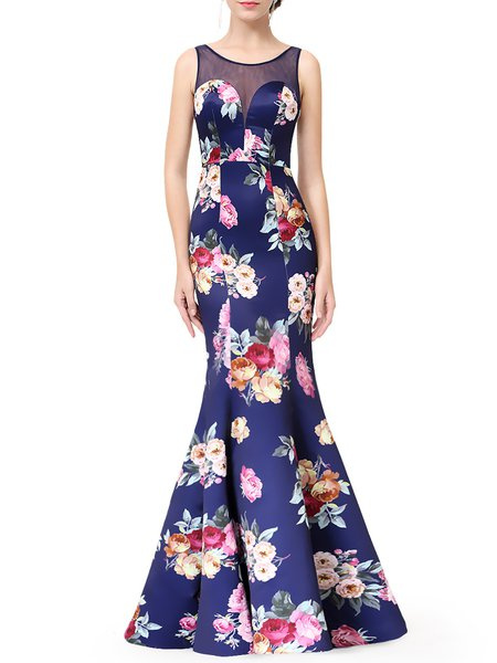 Blue Sleeveless Mermaid Crew Neck Floral Evening Dress