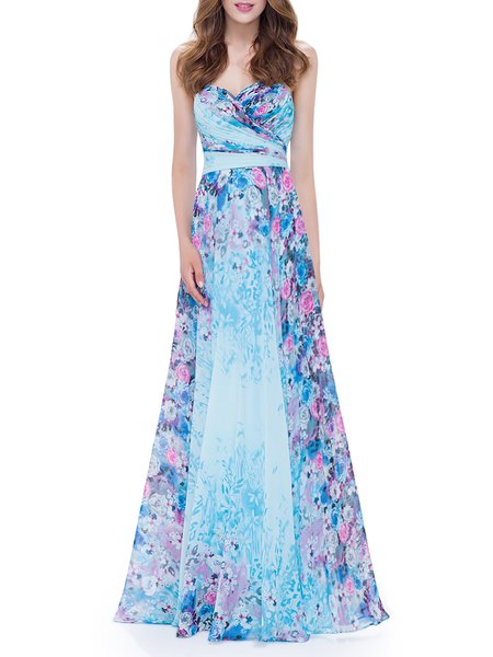 Strapless Elegant Chiffon Sleeveless Swing Evening Dress