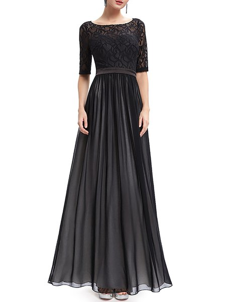 Black Bateau/boat Neck Half Sleeve Cutout Evening Dress