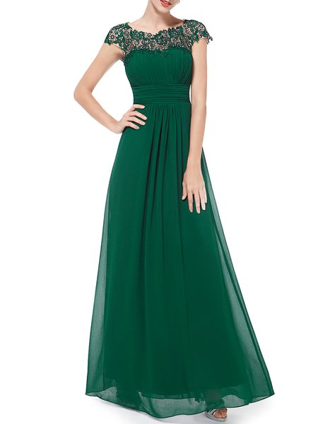 Green Cutout Bateau/boat Neck Swing Evening Dress