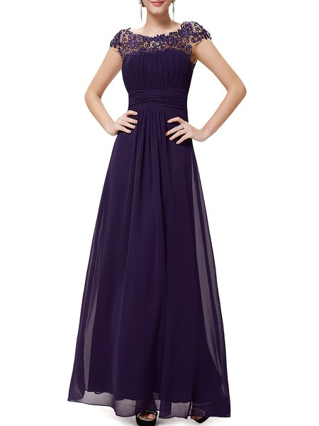 Deep Purple Cutout Bateau/boat Neck Swing Evening Dress