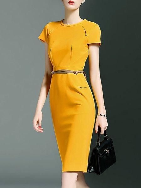 Simple Short Sleeve Plain Midi Dress with Belt