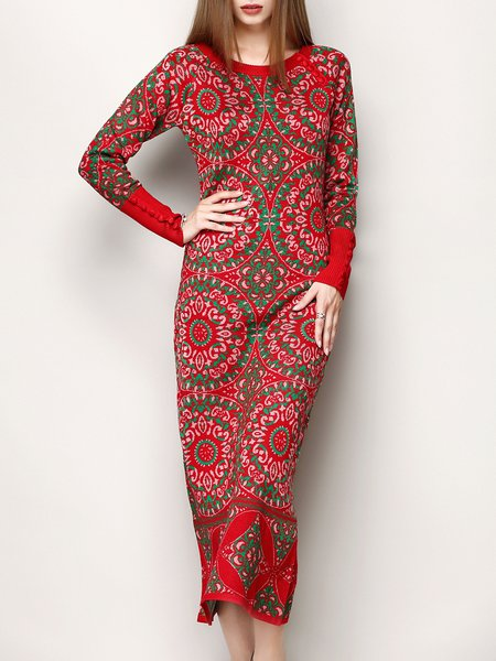 Red Long Sleeve Tribal Sheath Elegant Sweater Dress