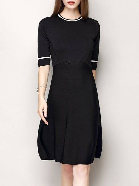 Black Simple Half Sleeve A-line Paneled Midi Dress
