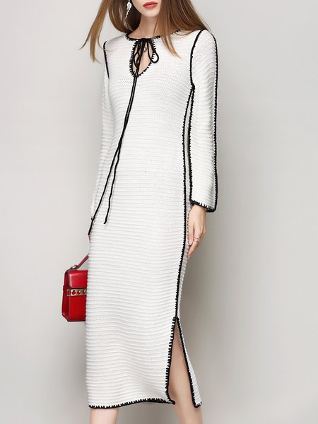 White Slit Knitted Keyhole Simple Midi Dress