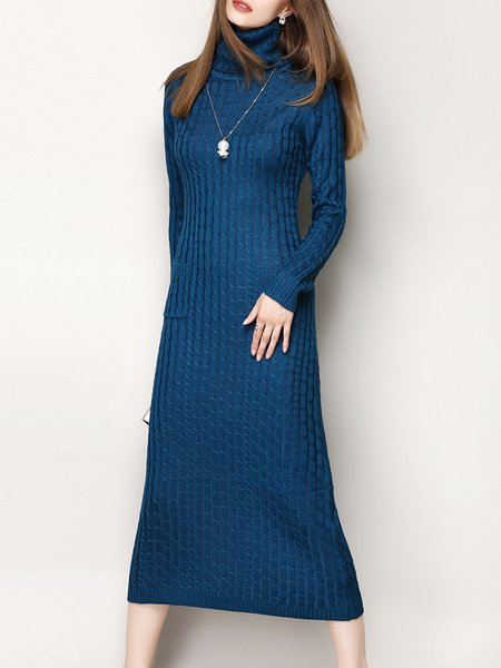 Blue Jacquard Long Sleeve Sweater Dress