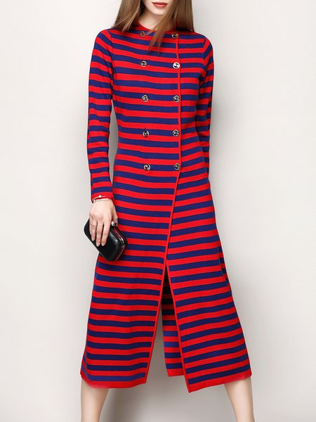 Red Buttoned Stripes Jacquard Long Sleeve Coat
