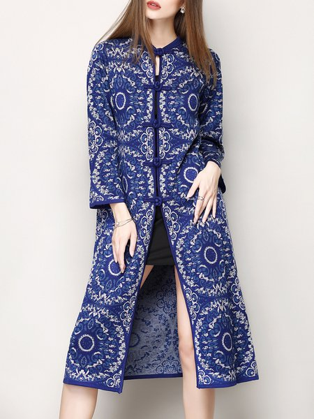 Blue Vintage Long Sleeve Jacquard Tribal H-line Coat