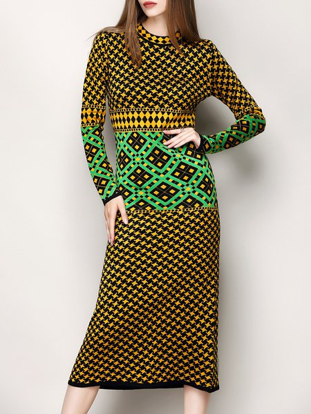 Yellow Geometric Elegant Long Sleeve Sweater Dress