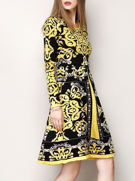 Yellow Elegant Jacquard A-line Knitted Sweater Dress