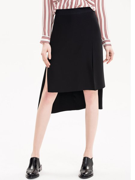 Black Slit High Low Statement Plain Midi Skirt