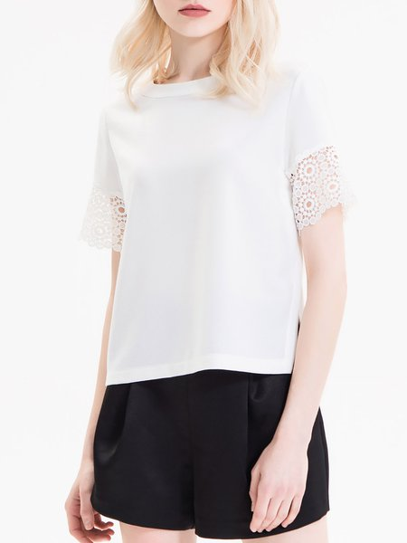 White Plain Crew Neck Simple Short Sleeved Top
