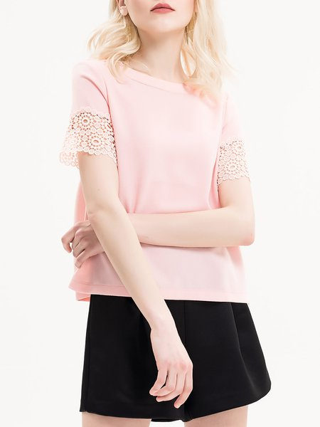 Pink Pierced Plain Crew Neck Short Sleeved Top