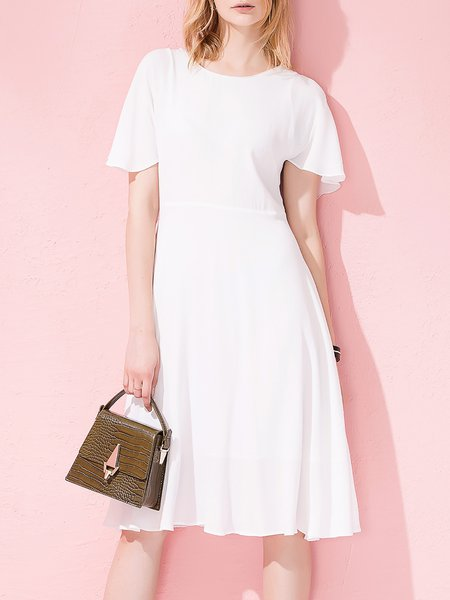 White Sweet Plain Folds A-line Frill Sleeve Midi Dress