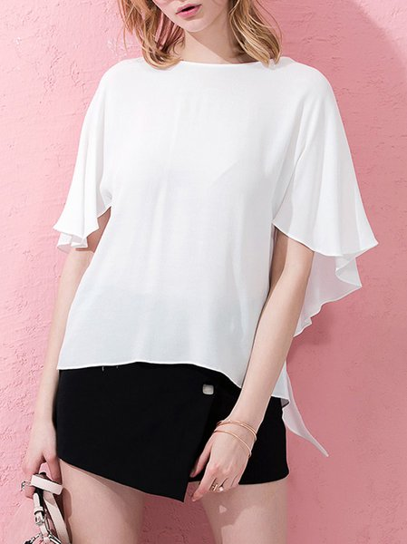 White Frill Sleeve Asymmetric Sweet Blouse