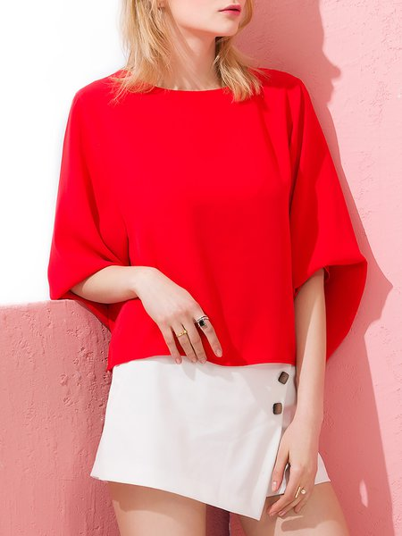 Red Bateau/boat Neck Polyester Simple Blouse