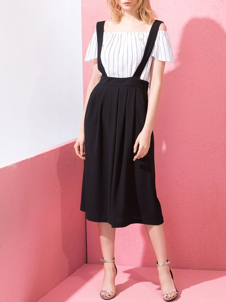 Black Simple Polyester A-line Plain Overall Midi Skirt