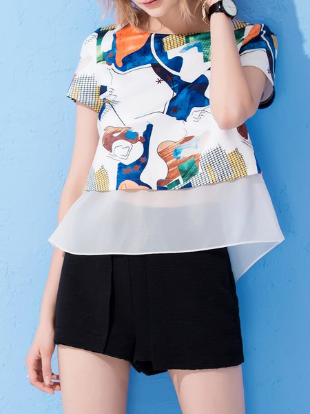 Multicolor Abstract Bandage Short Sleeved Top