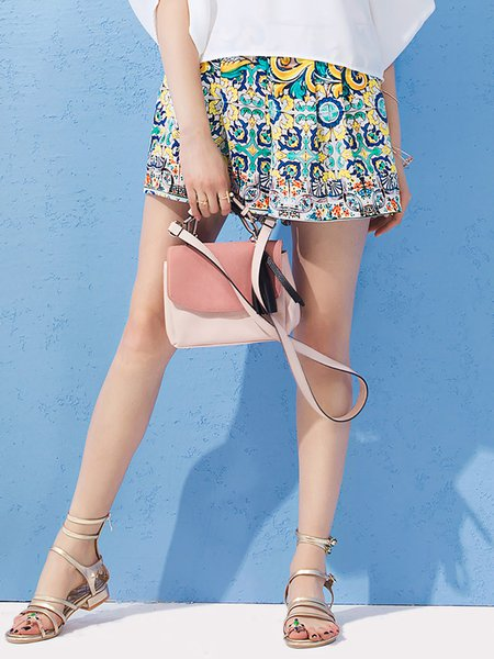 Multicolor Polyester Casual Printed Pockets Shorts