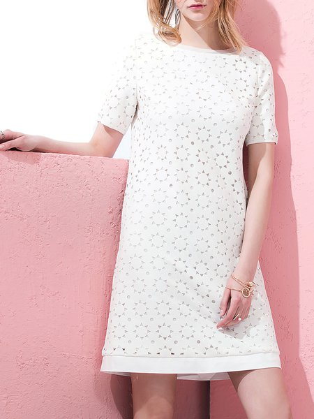 White Devore H-line Elegant Floral Short Sleeve Midi Dress
