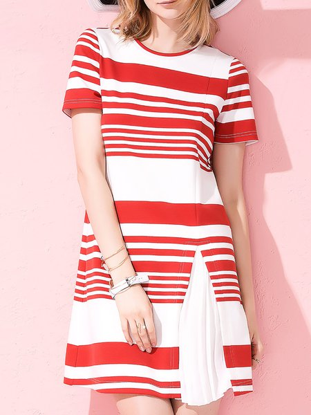 Red Simple Stripes A-line Pleated Mini Dress