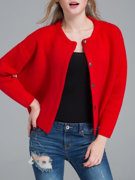 Red Buttoned Knitted Long Sleeve Cropped Jacket