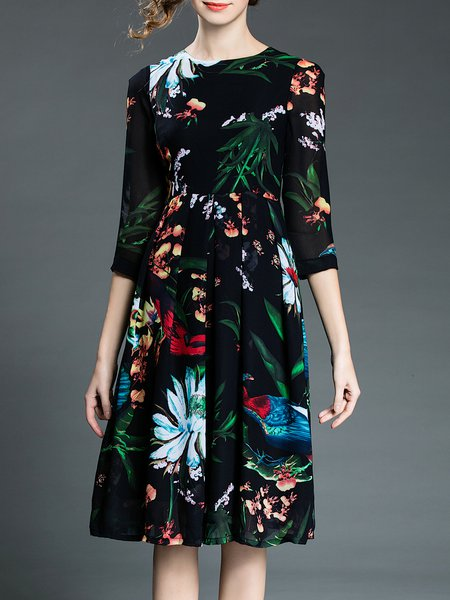 Black Folds Crew Neck Elegant Polyester Midi Dress