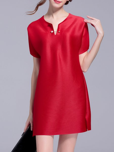 Red Ribbed Plain Short Sleeve A-line Mini Dress