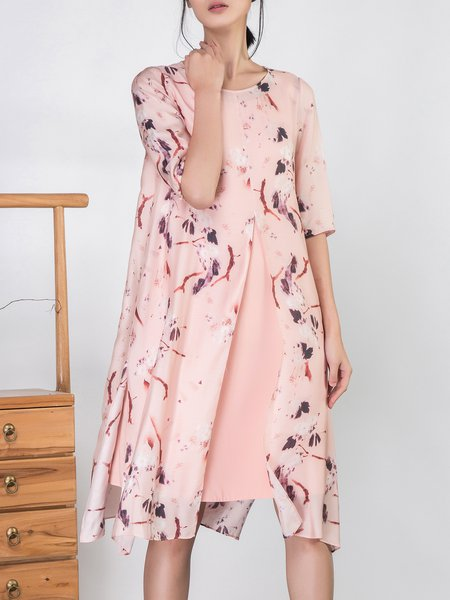 A-line Floral Elegant Printed Half Sleeve Midi Dress With Camis