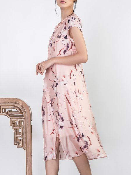 A-line Short Sleeve Floral Asymmetric Elegant Midi Dress