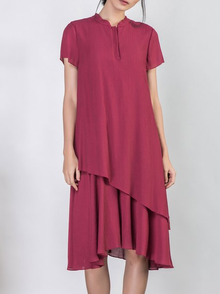 Stand Collar Plain Asymmetric Short Sleeve Casual Midi Dress
