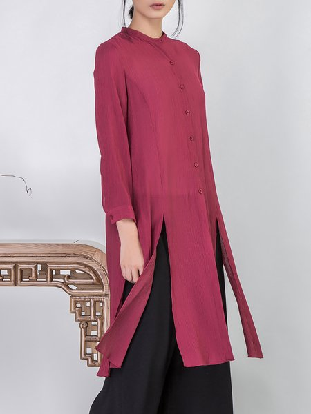 Long Sleeve Stand Collar Slit Casual Coat