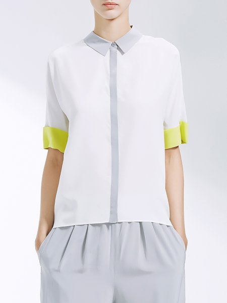 White Simple Color-block Blouse