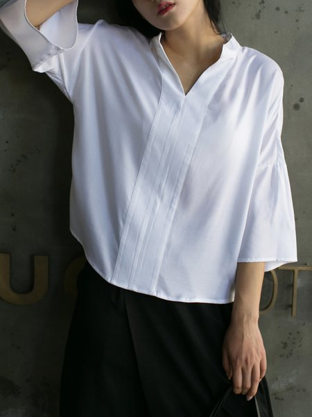 Frill Sleeve Plain Simple Blouse
