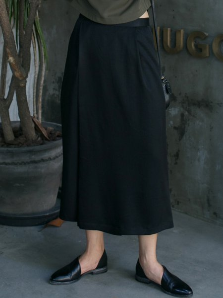 Black Tencel Casual Culottes Pants