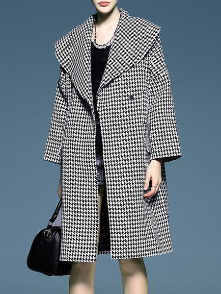 Black H-line Printed Lapel Casual Coat