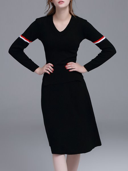Black Two Piece Long Sleeve Knitted Sweater Dress