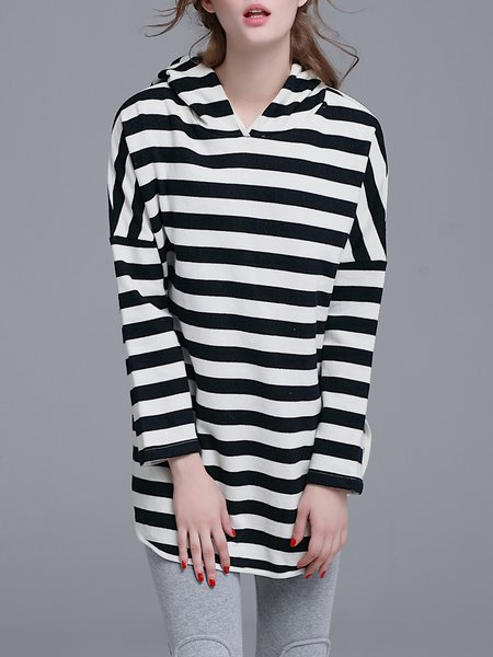 Black H-line Stripes Hoodie Slit Long Sleeved Top