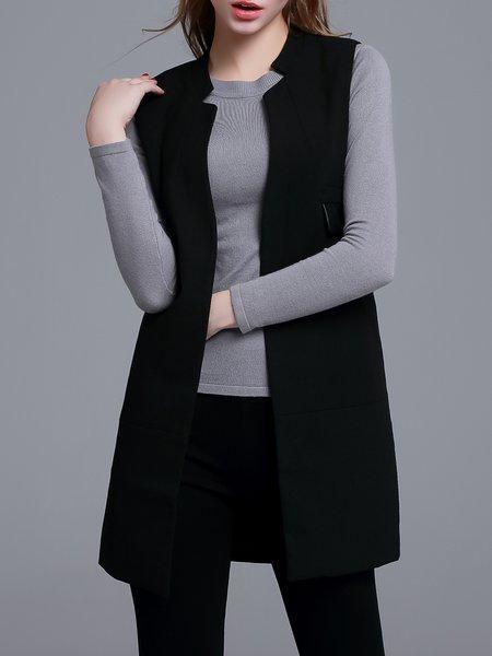 Black Polyester Simple Plain Vest