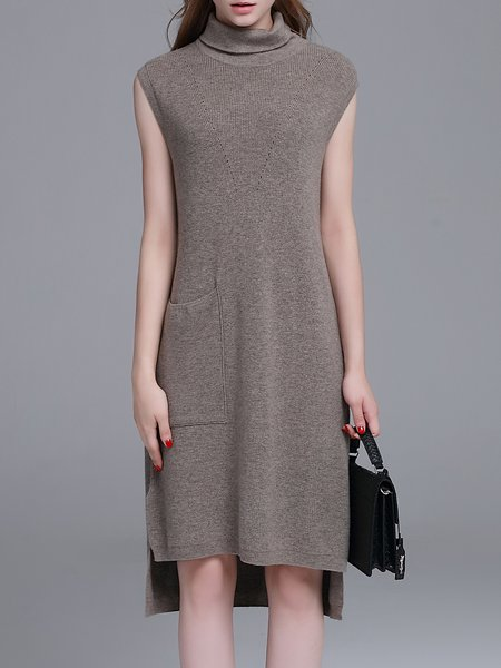Gray Plain High Low Turtleneck Sleeveless Sweater Dress