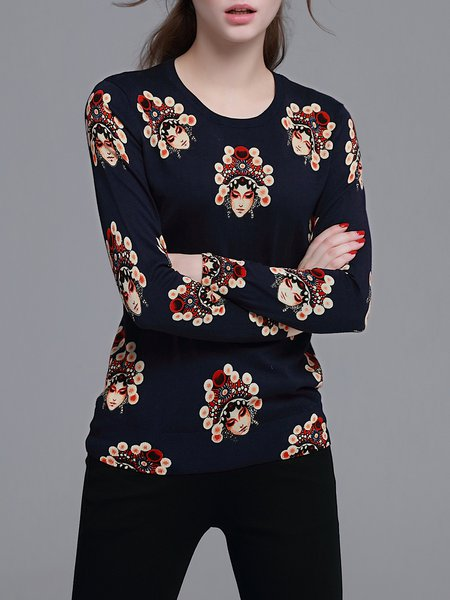 Navy Blue Knitted Long Sleeve Printed Sweater