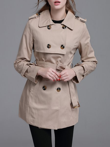 Khaki Elegant A-line Buttoned Pockets Trench Coat with Belt