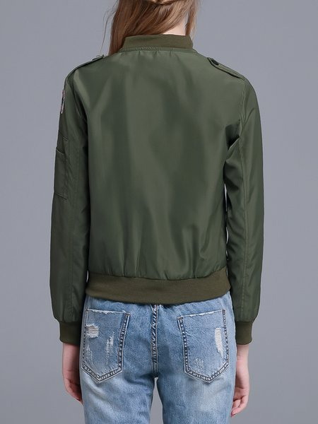 Army Green Stand Collar Long Sleeve Polyester Appliqued Bomber ...