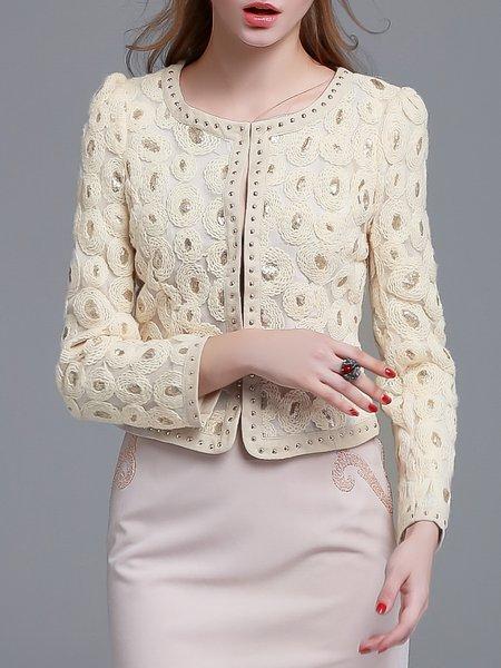 Beige Beaded Sequins Elegant Cropped Jacket