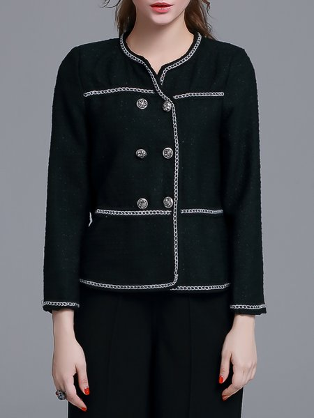 Black Plain Buttoned Polyester Cropped Jacket